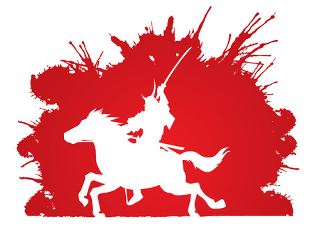 horse warrior: Samurai Warrior with Sword, Riding horse, designed on splash blood background graphic vector.