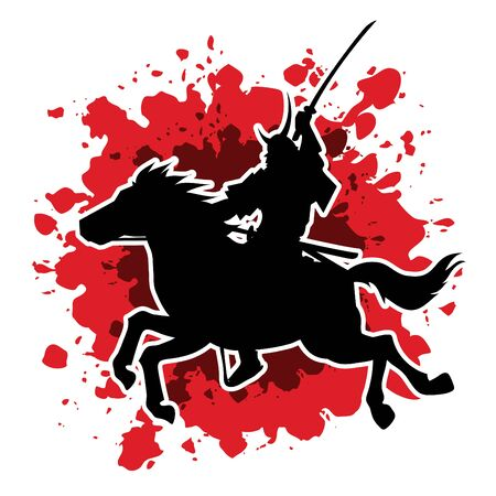 samurai warrior: Samurai Warrior with Sword, Riding horse, designed on splash blood background graphic vector.