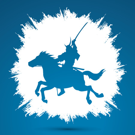 samurai warrior: Samurai Warrior with Sword, Riding horse, designed on grunge frame background graphic vector.