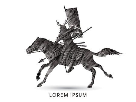 samourai: Samurai Warrior avec Spear, équitation, conçu en utilisant brosse grunge noir vecteur graphique.