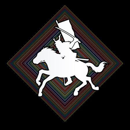 samurai warrior: Samurai Warrior with Sword Katana, Riding horse, designed on line square background graphic vector. Illustration