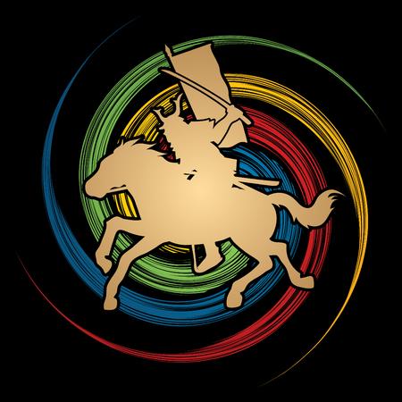 katana: Samurai Warrior with Sword Katana, Riding horse, designed on spin wheel background graphic vector.