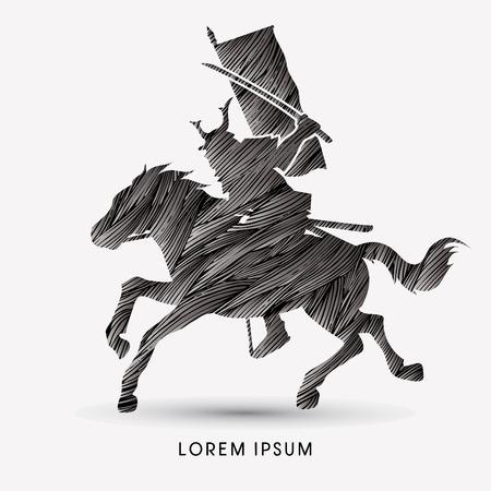 Samurai Warrior with Sword Katana, Riding horse, designed using black grunge brush graphic vector.