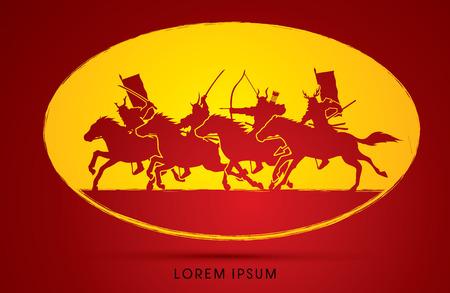 warriors: Samurai Warriors Riding Horses, graphic vector.