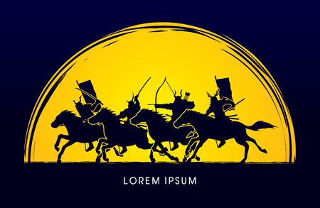 moonlight: Samurai Warriors Riding Horses, dise�adas luz de la luna en el fondo del gr�fico de vector.
