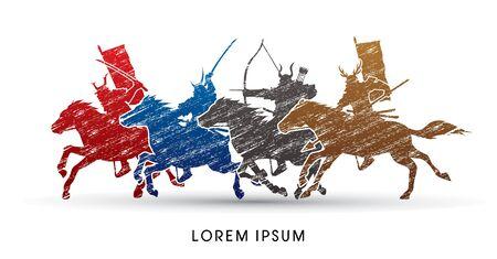 Samuraî: Samurai Warriors Équitation Chevaux, conçus en utilisant une brosse colorée grunge vecteur graphique.