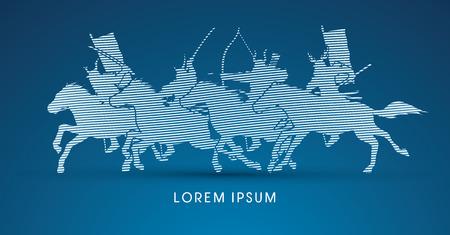 Samurai Warriors Riding Horses, designed using line wave graphic vector.