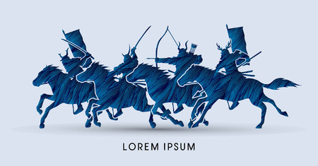 samurai: Samurai Warriors Riding Horses, designed using blue grunge brush graphic vector.