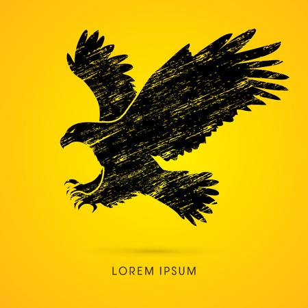 osprey: Eagle flying attack designed using grunge brush graphic vecto