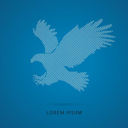 osprey: Eagle flying attack designed using dots pixels graphic vector. Illustration
