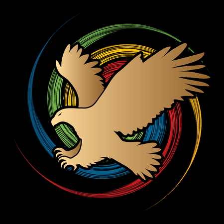 osprey: Eagle flying attack designed on spin wheel background graphic vector.