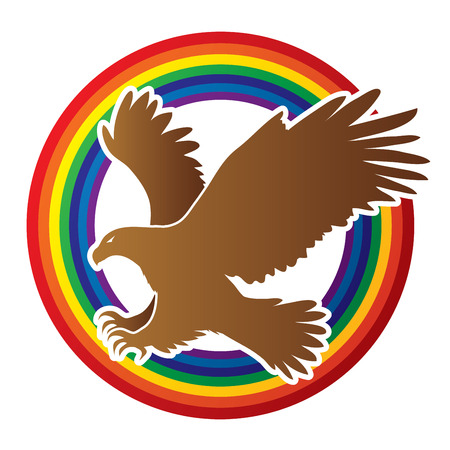 levitation: Eagle flying attack designed on line rainbows background graphic vector.