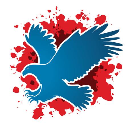 osprey: Eagle flying attack designed on grunge blood background graphic vector. Illustration