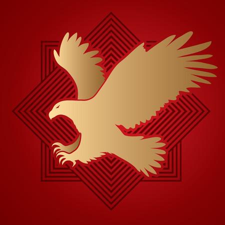 osprey: Eagle flying attack designed on line square background graphic vector.