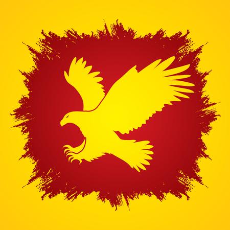 osprey: Eagle flying attack designed on grunge frame background graphic vector