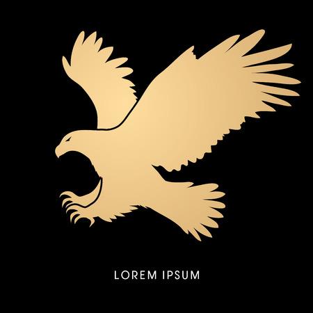 Águila volando ataque diseñado utilizando el color del oro del gráfico de vector. Ilustración de vector