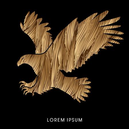 Eagle flying attack designed using grunge brush graphic vector. Illustration