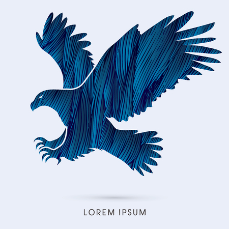 Eagle flying attack designed using grunge brush graphic vector.  イラスト・ベクター素材