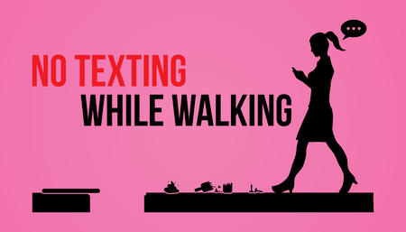 while: No texting while walking banner graphic vector. Illustration