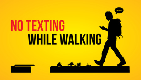 man outdoors: No texting while walking banner graphic vector. Illustration