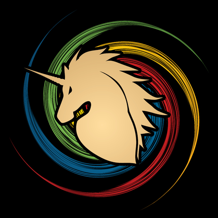 spin: Unicorn Head designed on grunge spin wheel background graphic vector.
