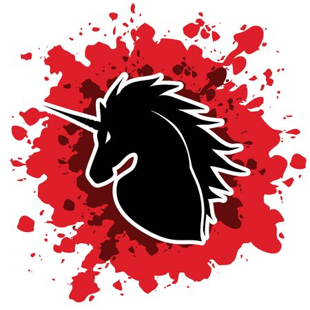 spalsh: Unicorn Head designed on grunge blood background graphic vector.