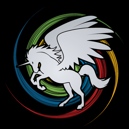 wheel spin: Fly Unicorn silhouette designed on spin wheel background graphic vector.