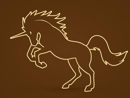 screen printing: Unicorn outline stroke graphic vector.