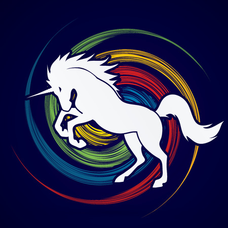 spin: Unicorn silhouette designed on spin wheel background graphic vector. Illustration