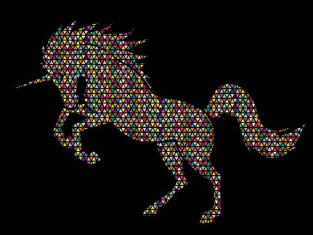 Unicorn silhouette designed using colorful mosaic pattern graphic vector.