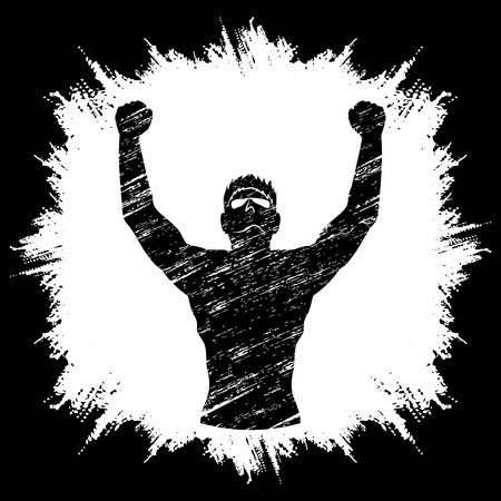 outstretched hand: Freedom man designed on grunge frame background graphic vector