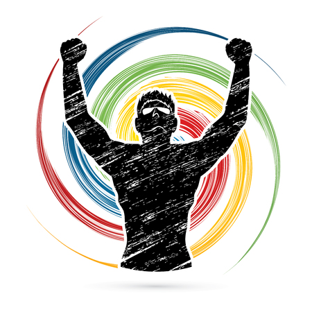 accomplishments: Freedom man designed on spin wheel background graphic vector