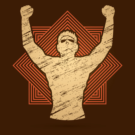 outstretched: Freedom man designed on line square background graphic vector