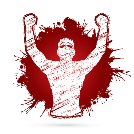 outstretched hand: Freedom man designed on grunge splash blood background graphic vector