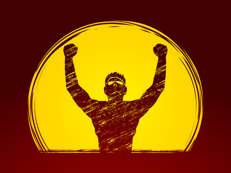outstretched hand: Freedom man designed on moonlight background graphic vector