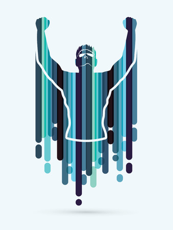 outstretched hand: Freedom man designed using blue line graphic vector
