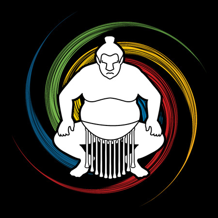 spin: Sumo silhouette, designed on grunge spin wheel background graphic vector.