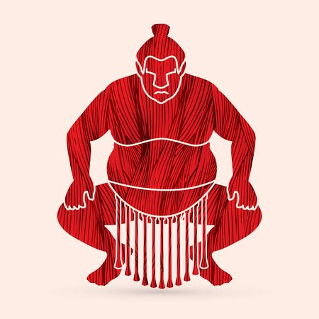 screen printing: Sumo silhouette, designed using red grunge brush graphic vector. Illustration