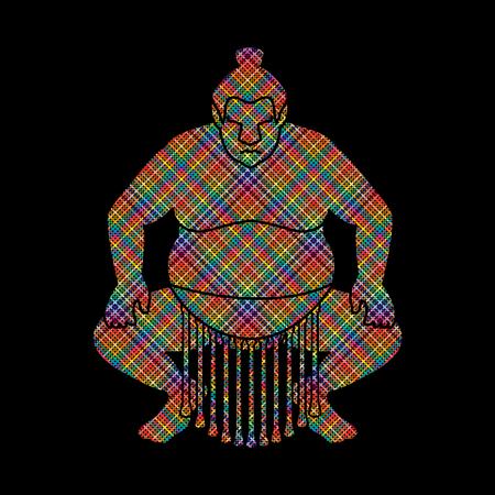 combative: Sumo silhouette, designed using colorful pixels graphic vector. Illustration