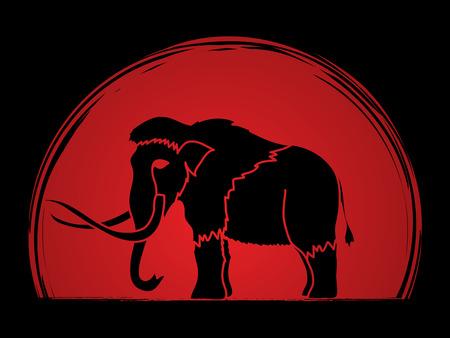 Mammoth designed on sunset background graphic vector. Illustration