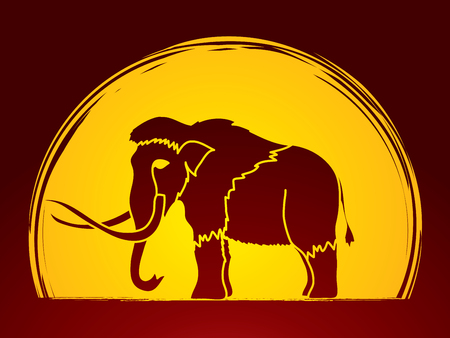 Mammoth designed on moonlight background graphic vector.