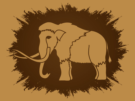 saurian: Mammoth designed on grunge frame background graphic vector.