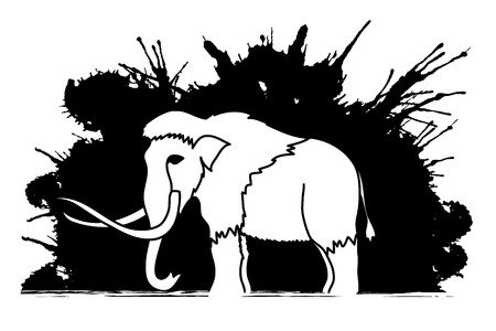 triassic: Mammoth designed on grunge ink background graphic vector.