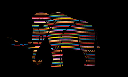 Mammoth designed using line colorful rainbows graphic vector.