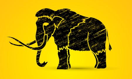 black mammoth: Mammoth designed using grunge brush graphic vector.