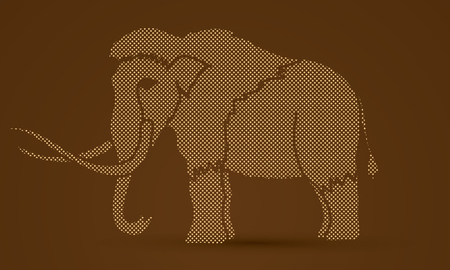 Mammoth designed using dots pixels graphic vector.