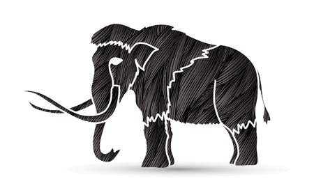 Mammoth designed using black grunge brush graphic vector.