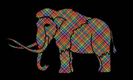 Mammoth designed using colorful pixels graphic vector. Illustration