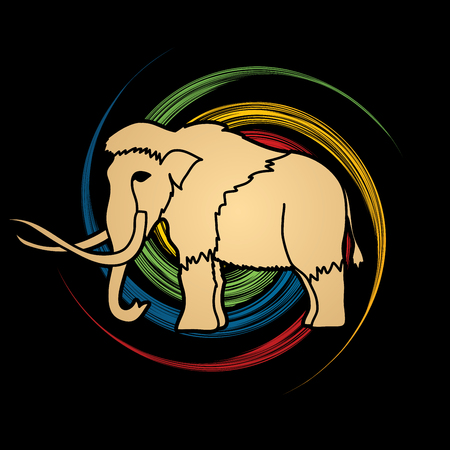saurian: Mammoth designed on spin wheel background graphic vector. Illustration