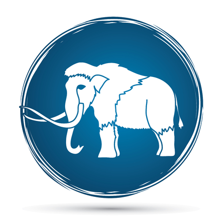 Mammoth designed on grunge circle background graphic vector.